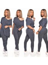 V Neck Solid Short Sleeve Two Piece Pants Set
