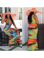 Mixed Color Printed Sleeveless Maxi Dress