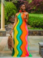 Iridescent Color Printed Halter Maxi Dress