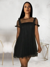 Gauze Patchwork Black Short Sleeve Dress