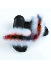 Contrast Color Faux Fur Fluffy Slippers