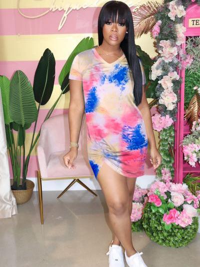 V Neck Tie Dye Short Short Sleeve Summer Dresses