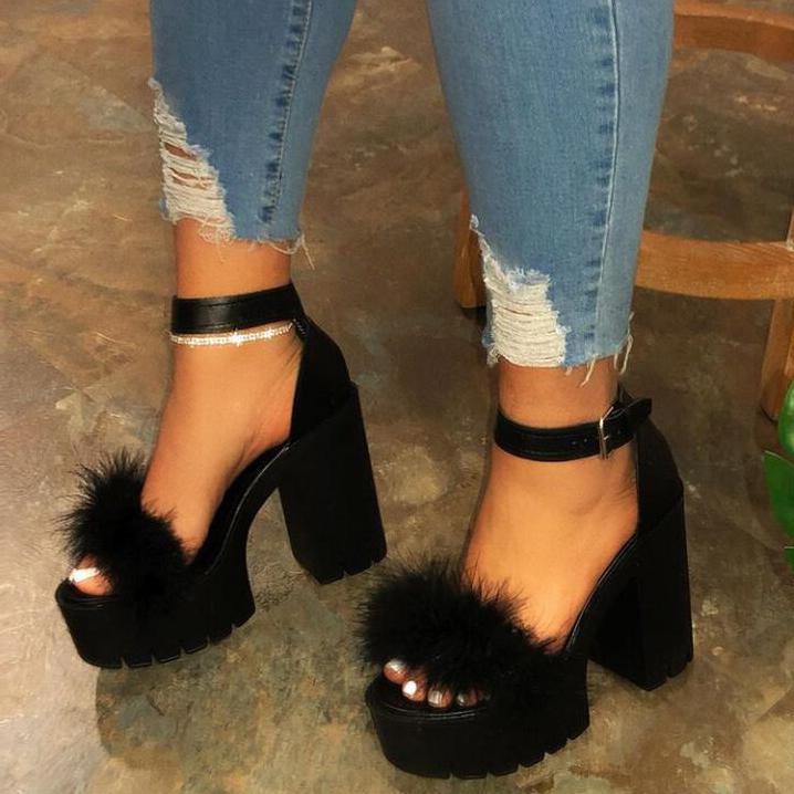 Faux Fur Decor Platform Chunky Sandals