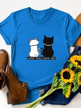 Cartoon Cat Pattern Crew Neck Oversized T Shirt
