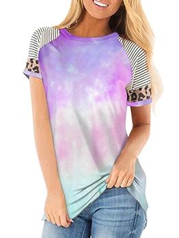 Gradient Color Tie Dye Patchwork t Shirt