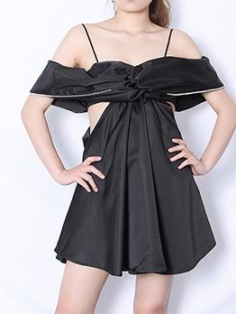 Boutique Hollow Out Rhinestone Decor Off Shoulder Black Dress