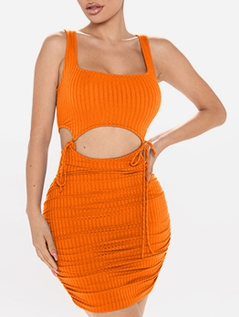 Square Neck Lace-Up Solid Color Crop Top With Skirt