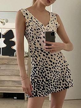 Retro Leopard Printed Sleeveless Summer Dresses