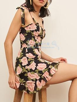 Chic Rose Printed Slip Mini One Piece Dress