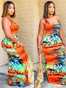 Mixed Color U Neck Female Bodycon Maxi Dress