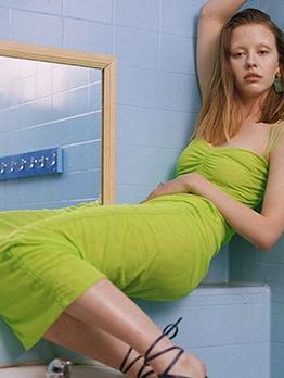 Solid Drawstring Sleeveless Bodycon Dress