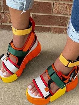 Fashion Contrast Color Platform Sandals