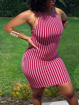 Sexy Backless Striped Sleeveless Dress