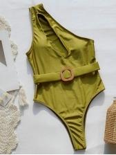 Vintage Print One Shoulder One Piece Swimsuit