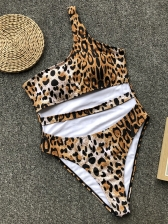 Irregular Cut Out One Shoulder Leopard Swimwear
