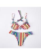 Underwire Colorful Striped Bikini Set For Women