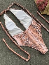 Deep V Neck Tie Wrap Halter Snake Print Swimsuit