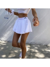 Embroidered Crescent Solid Summer Pleated Skirt