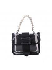 Faux Pearl Handle Transparent PVC 2 Piece Shoulder Bag