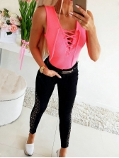 Solid Lace Up Tank Tops For Women