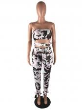 Seductive Camouflage Strapless Two Piece Pants Set