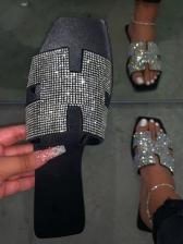 Chic Rhinestone Square Toe Ladies Slippers