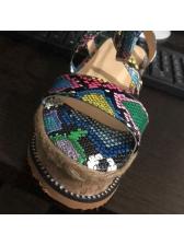 Colorful Snake Printed Lace Up Platform Sandals