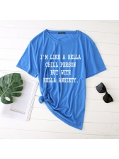 Summer Casual Letter Printed Loose Fitting Cotton t-Shirt