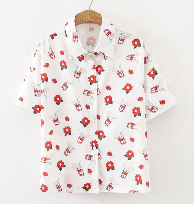 Flower Print Single-Breasted White Chiffon Shirt