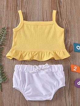 Ruffle Detail Sleeveless Baby Girls Set For Summer