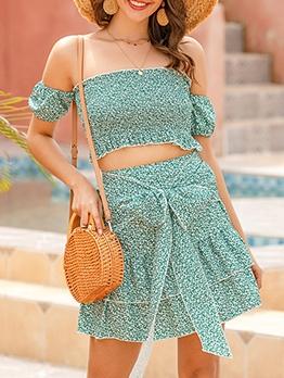 Off Shoulder Green Floral Tie-Wrap 2 Piece Skirt Set