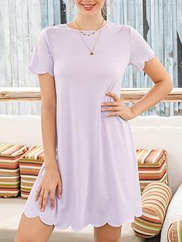 Scallop Edge O Neck Light Purple Short Dress