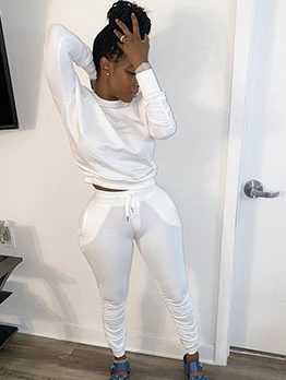 Solid Ruched Long Sleeve Two Piece Pants Set