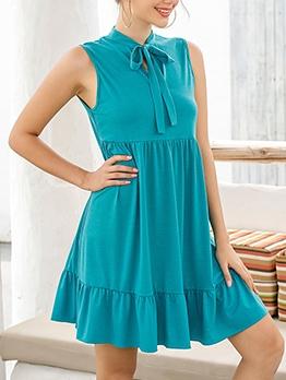 Tie Neck Ruffled Hem Solid Color Sleeveless Dress