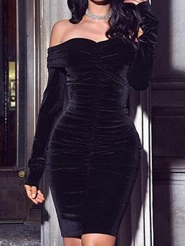 Plain Black Velvet Long Sleeve Off The Shoulder Dress