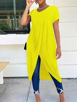 Solid Color Split Hem Short Sleeve Midi Dress
