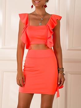 Fluorescent Orange Back Zipper Ruffled 2 Piece Set