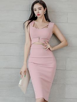 Korean Square Neck Solid Sleeveless Bodycon Dress