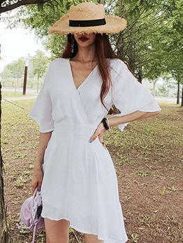 V Neck Half Sleeve Women Summer Dresses