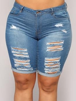 Cuffed Hem Plus Size Ripped Denim Shorts