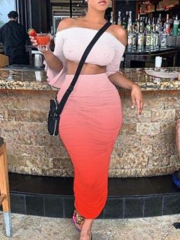 Gradient Color Off Shoulder 2 Piece Stacked Skirt Set