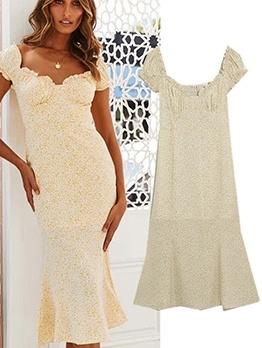 Elegant Puff Sleeve Printed V Neck Holiday Dresses