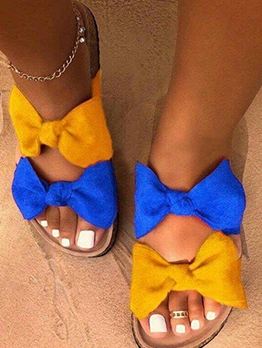 Bow Decor Slip On Women Slippers