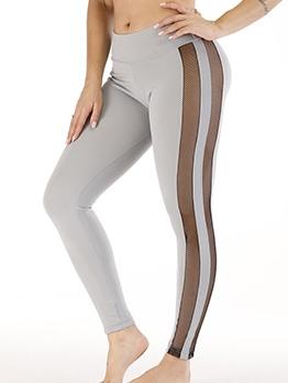 Gauze Patchwork Mid Waist Tight Yoga Pants