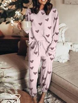 Casual Loungewear Heart Pattern Two Piece Pants Set