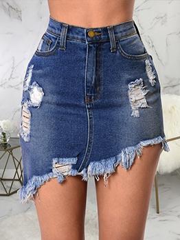 Raged Hem Irregular Hem Denim Skirt