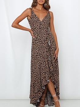 Leopard Irregular Hem Sleeveless Maxi Dress