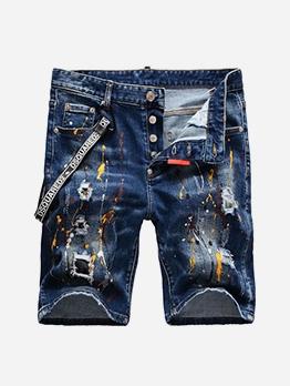 Painted Button Fly Men Short Denim Pants