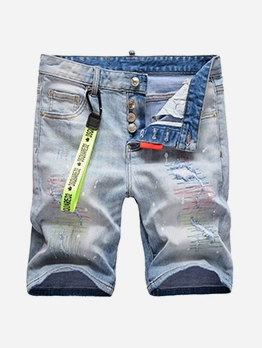 Button Fly Ripped Denim Short Pants For Men