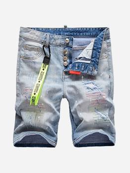 Button Fly Ripped Denim Short Pants For Men